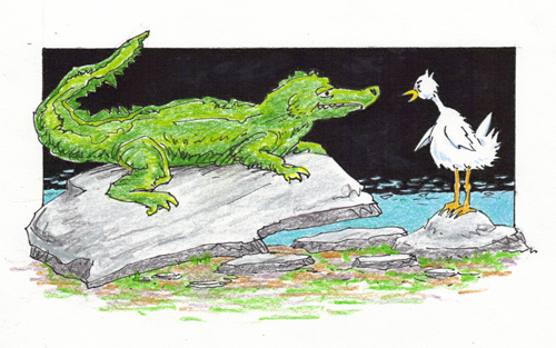 cartoon of alligator threatening chicken